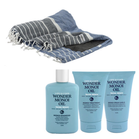 Tecna Beach Wonder Monoi kit Shampoo 250ml Treatment 150ml Cream 125ml + Kostenloses Strandtuch Baldinini