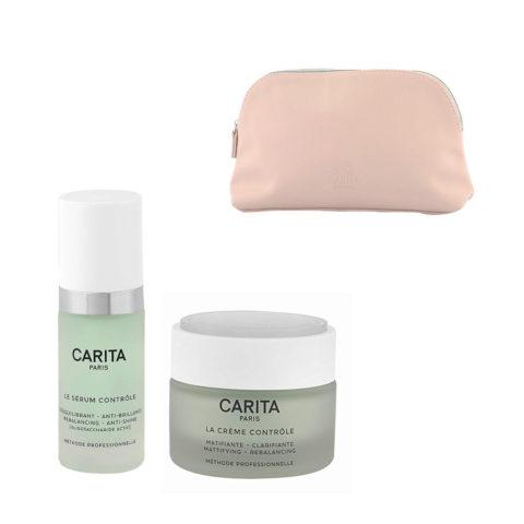 Carita Skincare Ideal Controle Kit Serum 30ml Creme 50ml - Serum und Creme Matt Effekt - Geschennk Handtasche