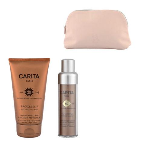 Carita Progressif Anti-Age Solaire Kit Crème Visage Anti-rides 50ml Lait Corps Protecteur 150ml - Geschenk Handtasche
