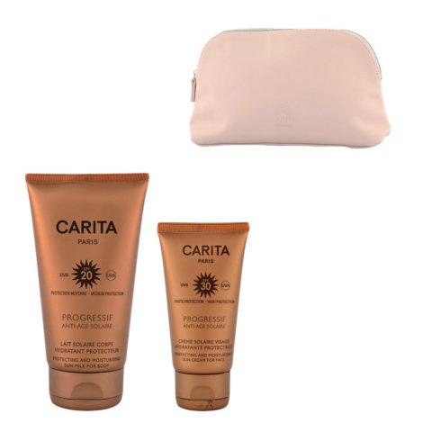 Carita Progressif Anti-Age Solaire Hydratant Protecteur Kit Crème Visage 50ml Lait Corps 150ml - Geschenk Handtasche