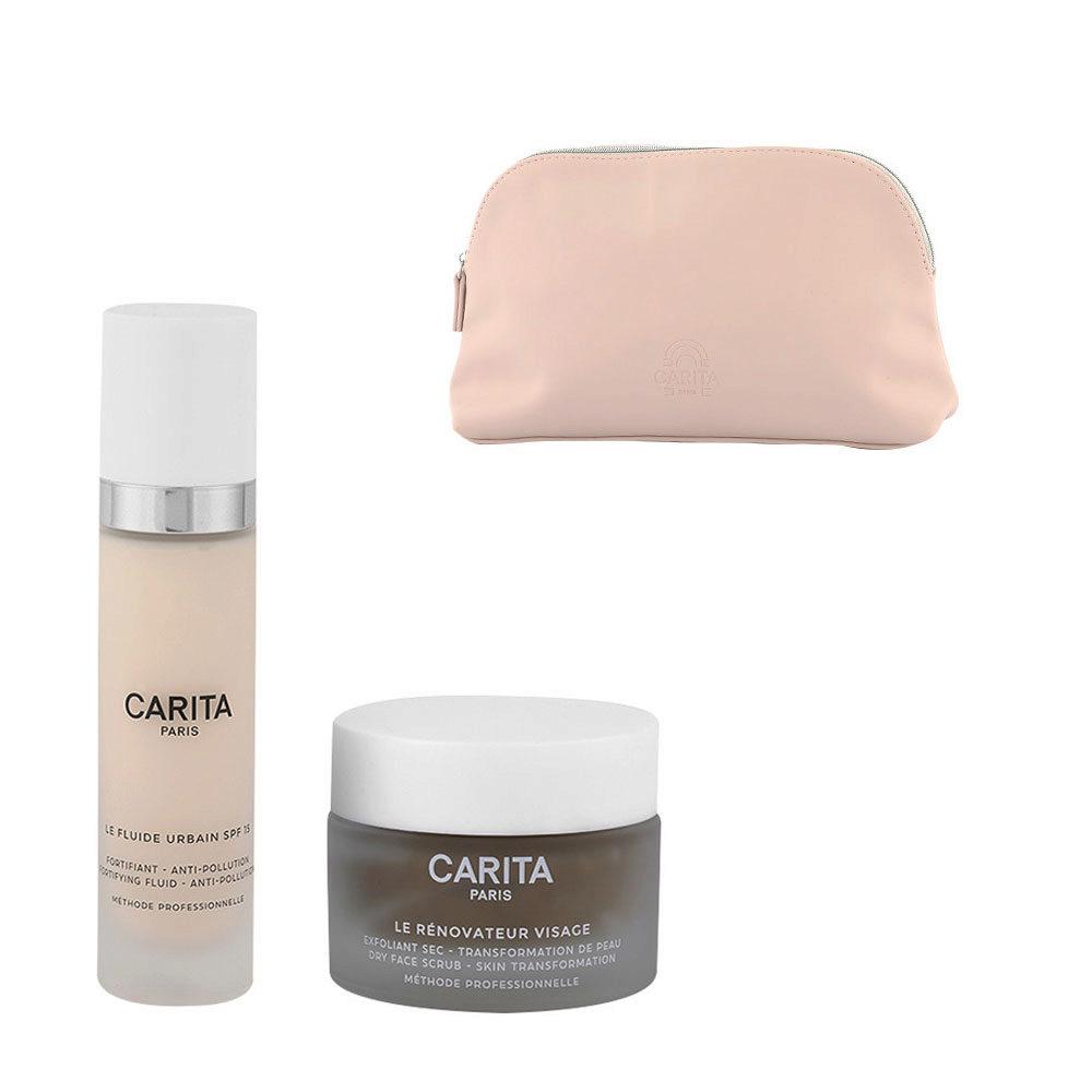 Carita Kit Le Rénovateur Visage 50ml Le Fluide Urbain 50ml Geschenk Handtasche