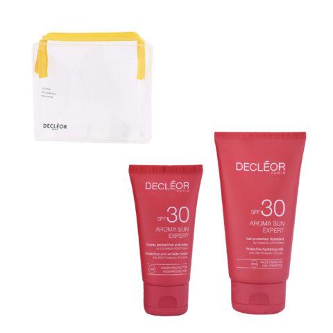 Decléor Aroma Sun Kit Protecteur Crème Anti-rides SPF30 50ml Lait Hydratant SPF30 150ml - Geschenk Handtasche