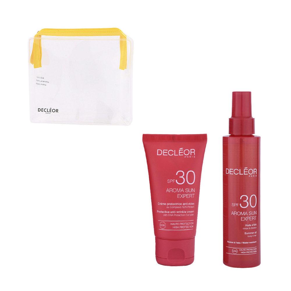Decléor Aroma Sun Kit Protecteur Crème Anti-rides SPF30 50ml Huile d'été corps et cheveux SPF30 15 - Geschenk Handtasche