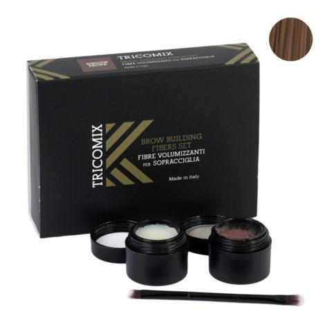 Tricomix Brow Medium Brown 1,2g + 2g - Volumisierende Augenbrauenfasern Für Die Augenbrauen - Mittelbraun