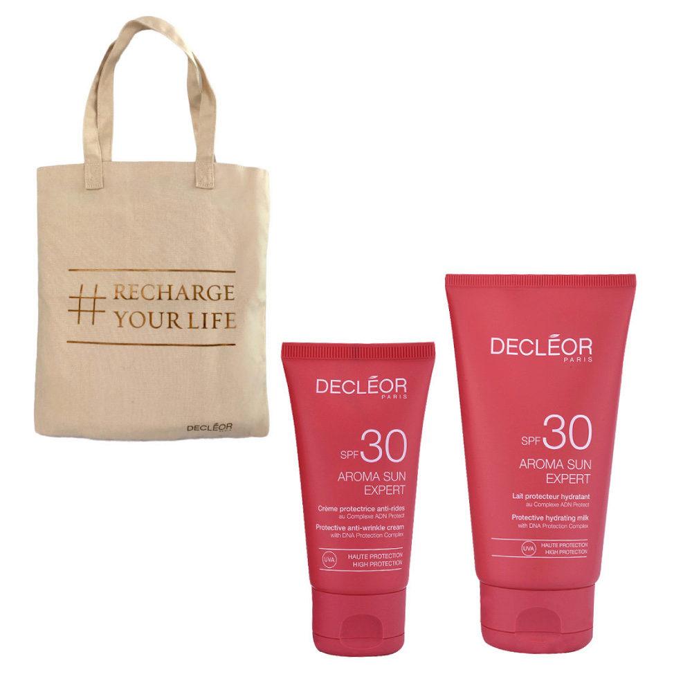 Decléor Aroma Sun Kit Protecteur Crème Anti-rides SPF30 50ml Lait Hydratant SPF30 150ml - Geschenk Tasche