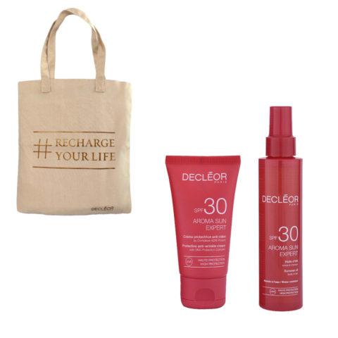 Decléor Aroma Sun Kit Protecteur Crème Anti-rides SPF30 50ml Huile d'été corps et cheveux SPF30 15 - Geschenk Tasche
