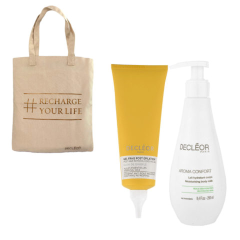 Decléor Bodycare Kit Post Hair Removal Cooling gel Clove 125ml Lait Hydratant 250ml - Geschenk tasche