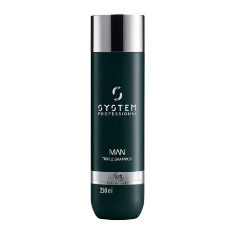 System Professional Man Triple Shampoo M1, 250ml - Shampoo Haar Körper Und Bart