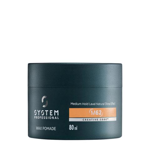 System Professional Man Wax Pomade M62, 80ml - Pomade Mit Mittelstarkem Halt