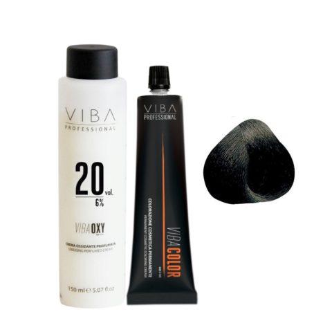 Viba Professional Kit Color 1 Black and Developer 20 vol