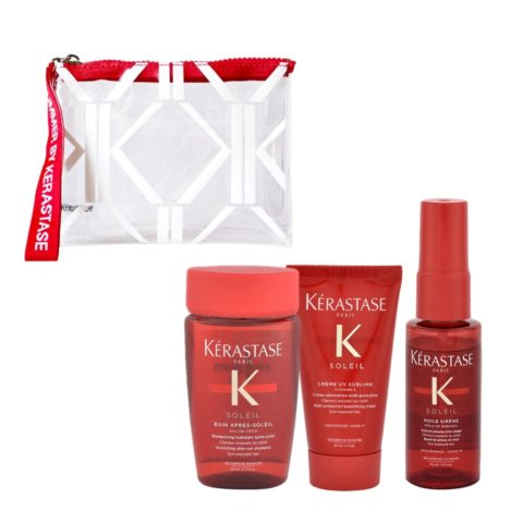 Kerastase Soleil Kit Shampoo 80ml Creme UV Sublime 50ml Huile Sirene 45ml - Geschenk Handtasche