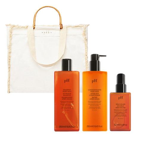 PH Laboratories Kit Sun Shampoo 250ml Conditioner 250ml Spray 100ml Kostenlose Strandtasche