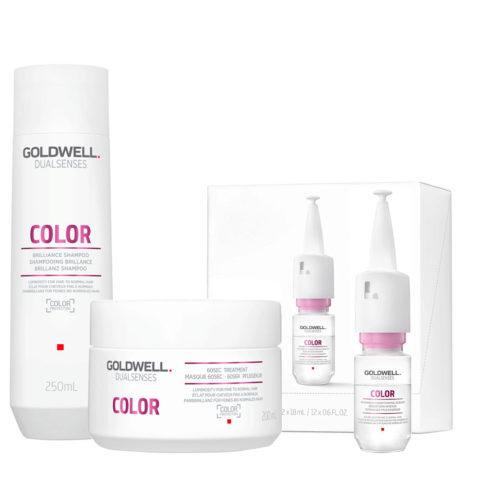 Goldwell Dualsenses Color Brilliance shampoo 250ml Mask for Coloured Hair 200ml Serum 12x18ml