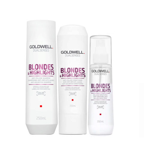 Goldwell Dualsenses blond & highlights Anti Yellow shampoo 250ml Conditioner 200ml Spray 150ml