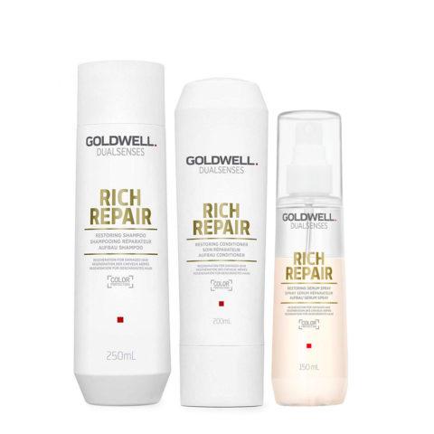 Goldwell rich repair Shampoo 250ml Conditioner 200ml Serum Spray 150ml