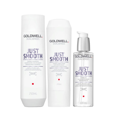 Goldwell Dualsenses Just Smooth Bändigungs Shampoo 250ml Conditioner 200ml Öl 100ml