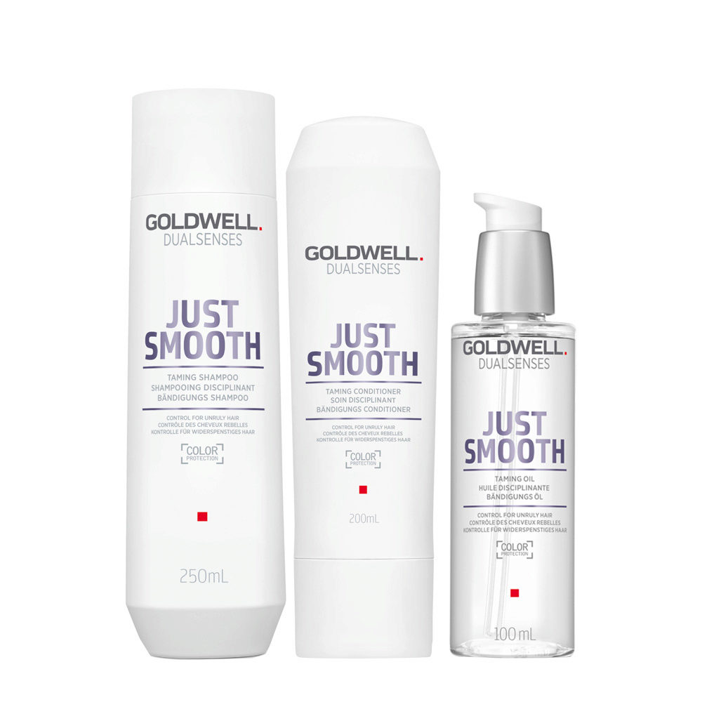 Goldwell Dualsenses Just Smooth Bändigungs Shampoo 250ml Conditioner 200ml Öl 100ml