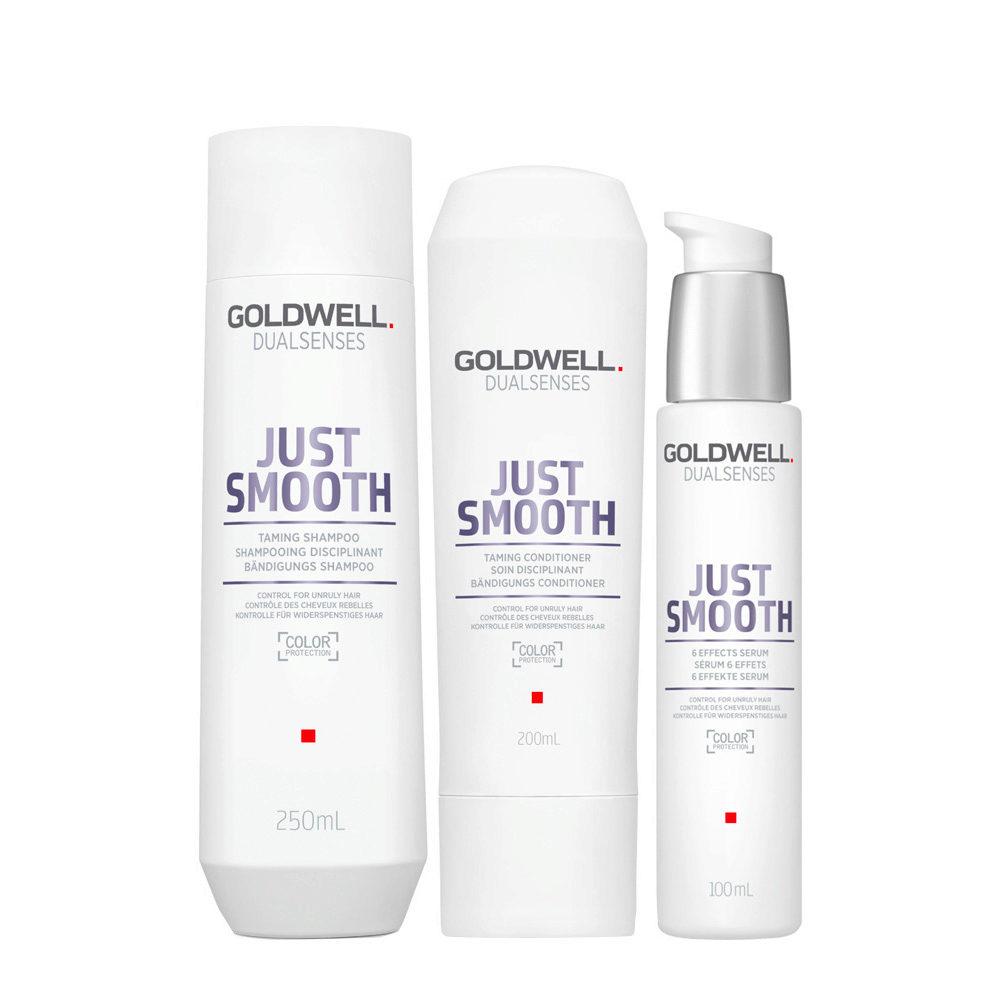 Goldwell Dualsenses Just Smooth Bändigungs Shampoo 250ml Conditioner 200ml Serum 100ml