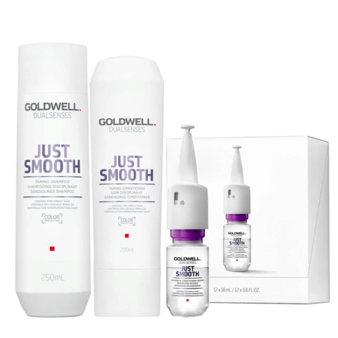 Goldwell Dualsenses Just Smooth Bändigungs Shampoo 250ml Conditioner 200ml Serum 12x18ml
