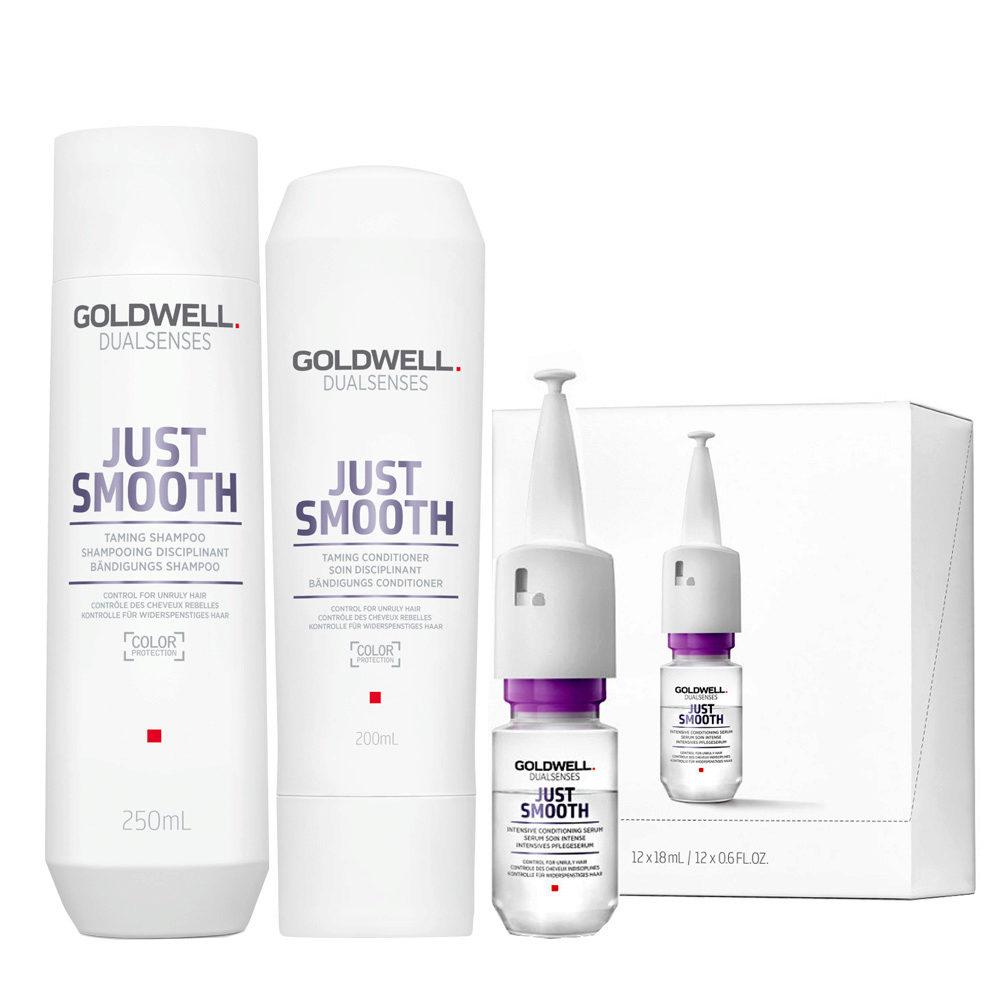 Goldwell Dualsenses Just Smooth Bändigungs Shampoo 250ml Conditioner 200ml Serum 12x18ml
