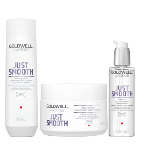 Goldwell Dualsenses Just Smooth Bändigungs Shampoo 250ml Mask 200ml Öl 100ml