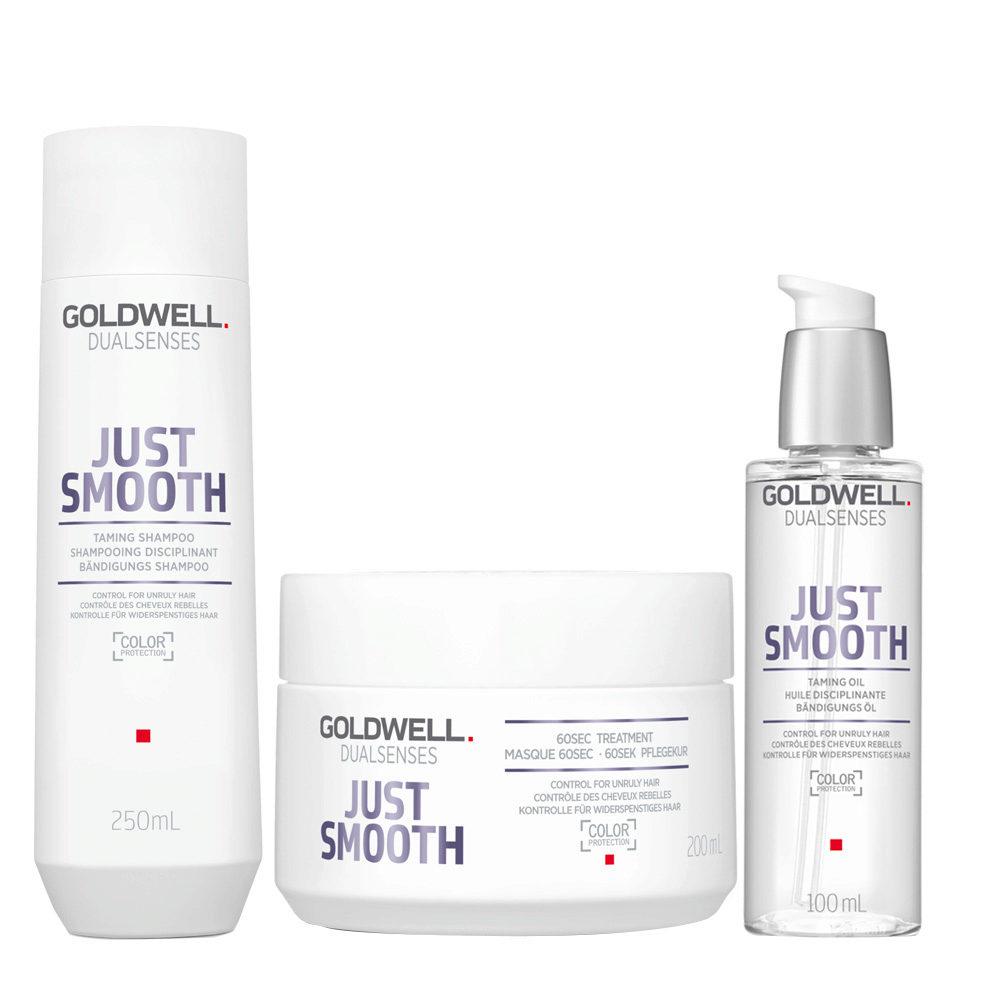 Goldwell Dualsenses Just Smooth Bändigungs Shampoo 250ml Mask 200ml Öl 100ml