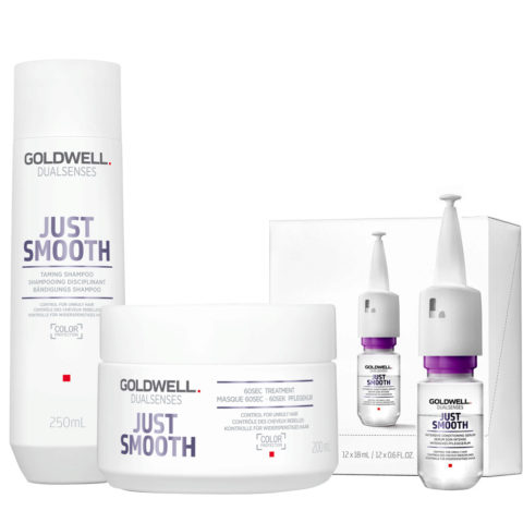Goldwell Dualsenses Just Smooth Bändigungs Shampoo 250ml Mask 200ml Serum 12x18ml