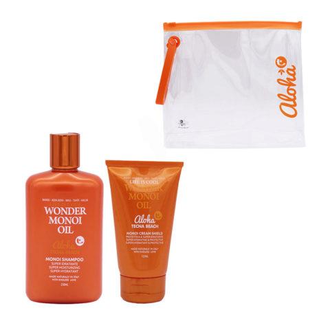 Tecna Beach Wonder Monoi kit Shampoo 250ml Cream Shield 125ml Kostenlose Pochette