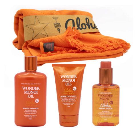 Tecna Beach Wonder Monoi kit Shampoo 250ml Maske Nach Sonne 150ml Öl 100ml Badetuch