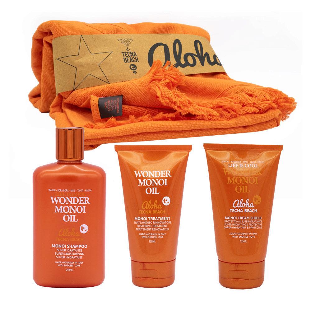 Tecna Beach Wonder Monoi kit Shampoo 250ml Maske 150ml Schutzcreme 125ml Badetuch