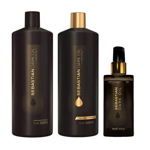 Sebastian Dark Oil Leichtes feuchtigkeitsspendendes Shampoo 1000ml Conditioner 1000ml Öl 95ml