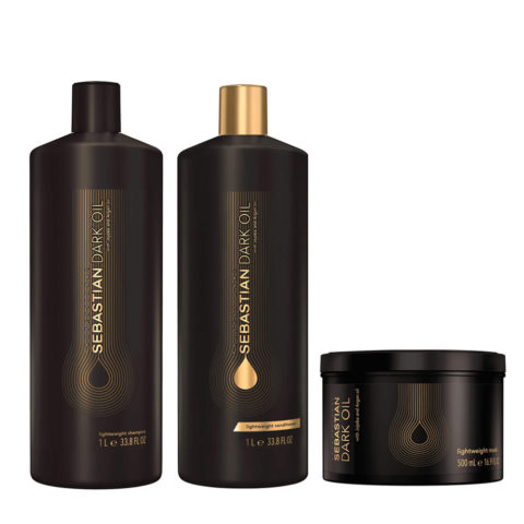 Sebastian Dark Oil Leichtes feuchtigkeitsspendendes Shampoo 1000ml Conditioner 1000ml Maske 500ml