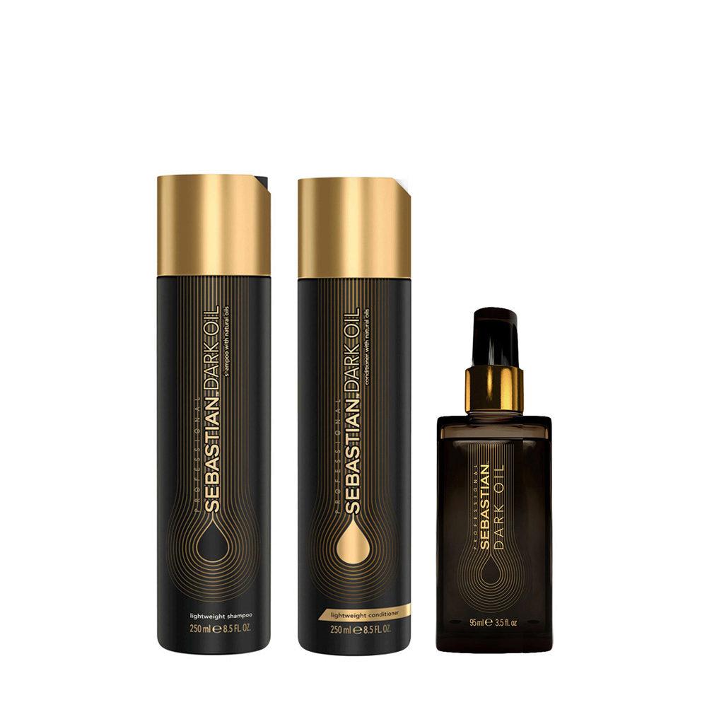 Sebastian Dark Oil Leichtes feuchtigkeitsspendendes Shampoo 250ml Conditioner 250ml Öl 95ml