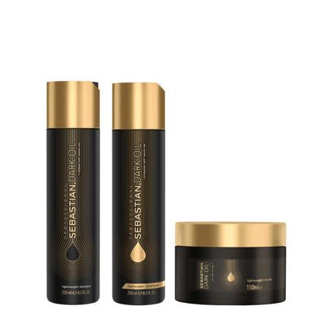 Sebastian Dark Oil Leichtes feuchtigkeitsspendendes Shampoo 250ml Conditioner 250ml Maske 150ml
