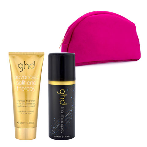 GHD Kit Split End Therapy 100ml Final Shine Spray 100ml und Rosa Clutch