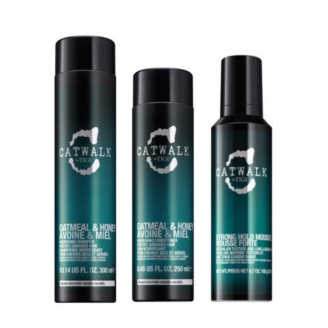 Tigi Catwalk Kit Shampoo 300ml Conditioner 250ml Strong Hold Mousse 200ml Für Trockenes Haar