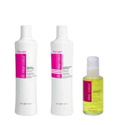 Fanola Gefärbtes Haar Shampoo 350ml Conditioner 350ml Flüssigkristalle 100ml