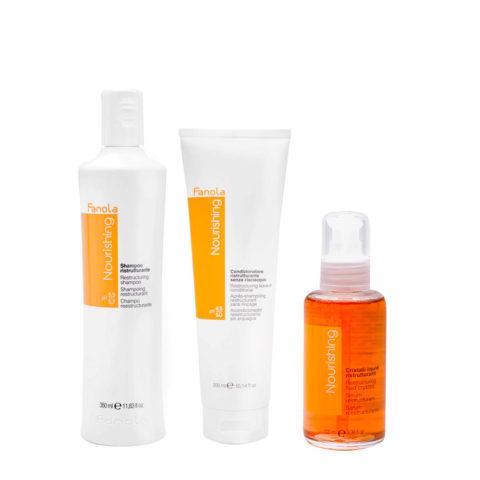 Fanola Nutri Care Shampoo 350ml Conditioner 300ml Flüssigkristalle 100ml