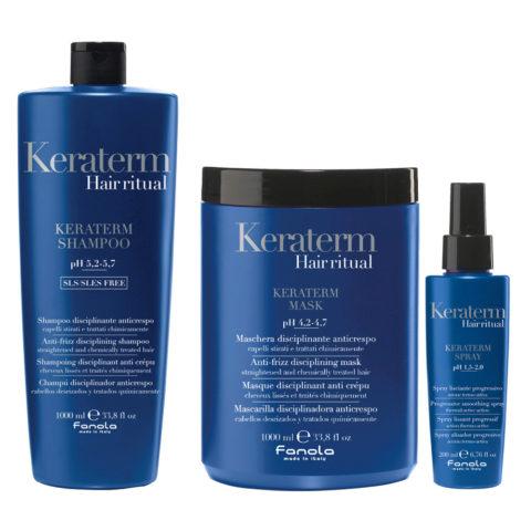 Fanola Keraterm Shampoo 1000ml Maske 1000ml Spray 200ml Antifrizz