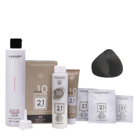 21 Ventuno Professionelles Farbkit 3.0 Dunkel Braun + Shampoo Gratis 250ml
