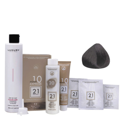21 Ventuno Professionelles Farbkit 7.1 Aschblond + Shampoo Gratis 250ml