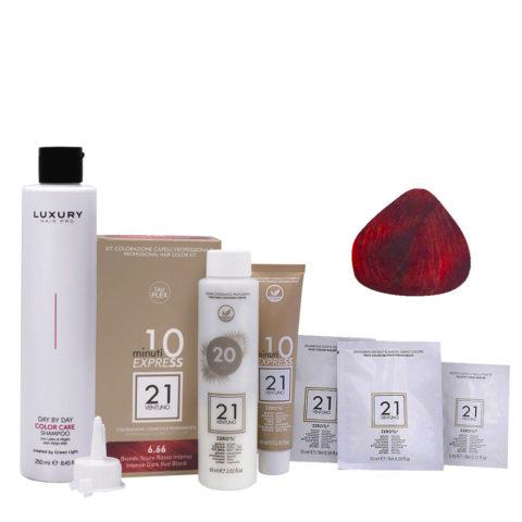 21 Ventuno Farbkit 6.66 Intensive Dunkelblond Rot + Shampoo Gratis 250ml