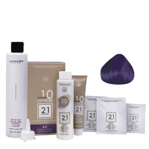 21 Ventuno Professionelles Farbkit 6.2 Dunkelviolette Blond + Gratis Shampoo 250ml