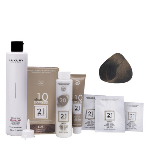 21 Ventuno Professionelles Farbkit 6.31 Cappuccino Haarfarbe + Gratis Shampoo 250ml