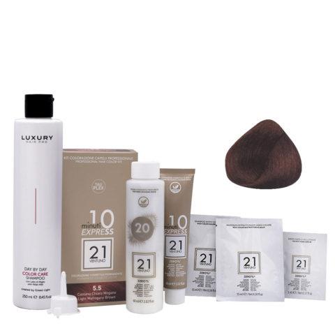 21 Ventuno Professionelles Farbkit 5.5 Helles Mahagoni Braun + Gratis Shampoo 250ml