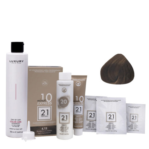 21 Ventuno Professionelles Farbkit 6.13 Dunkelblonder Sand + Gratis Shampoo 250ml