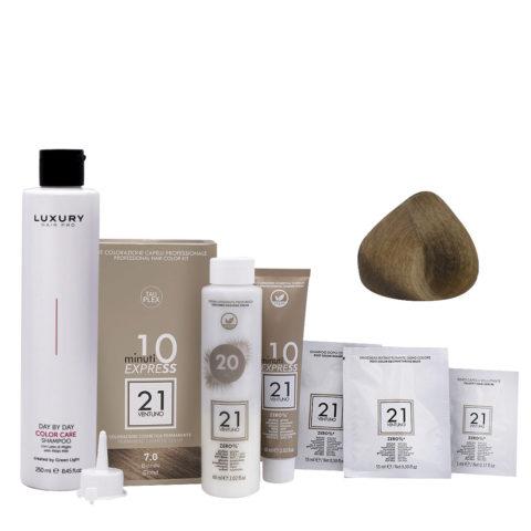 21 Ventuno Professionelles Farbkit 7.0 Blond + Gratis Shampoo 250ml