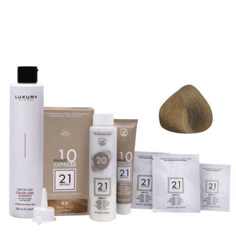 21 Ventuno Professionelles Farbkit 8.0 Hellblond + Gratis Shampoo 250ml