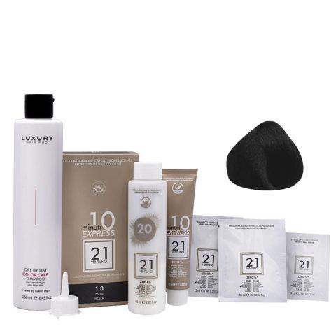 21 Ventuno Professionelles Farbkit 1.0 Schwarz + Gratis Shampoo 250ml