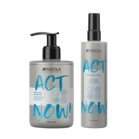 Indola Act Now Feuchtigkeit Für Trockenes Haar Shampoo 300ml Und Feuchtigkeitsspray 200ml
